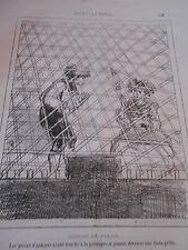 Caricature 1876 Mesure de Police derrière une forte grille