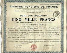 Paris 1925. Obligation de 5000 Francs.Epargne Foncière de France.