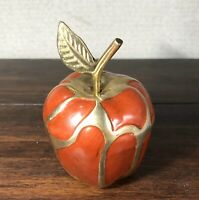 Vintage Cloisonne Apple Figurine Brass Enamel Red Paperweight Collectible