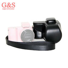 black PU Leather Camera Carrying Bag Case Cover Protector Samsung NX1000 + Strap