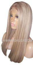 "Human Hair Wig Front Lace 20"" Long Light Ash Brown Blonde 9 60 Highlights Moklox"