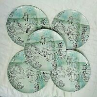 Disney Zak Designs Set of 5  Dinner Plates Melamine Minnie Mouse Daffy Sketch