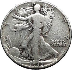 1942 WALKING LIBERTY Half Dollar Bald Eagle United States Silver Coin i44710