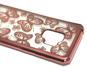 For Samsung Galaxy S9 - Rose Gold Butterflies Rubber Silicone Skin Case Cover