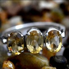 Yellow Natural Cut Citrine Gem 925 Solid Silver Top Designer Handmade Ring 8us