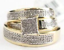 New 10k Yellow Gold Trio Men Women Diamond Rings Set Wedding Bridal Band His Her
