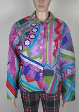 """Colourful floral zig zag waist length silk jacket ANAGE Size M 36"""" chest"""