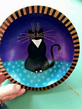 Ooak Handpainted Wood Bowl Black Cat with Gold Whiskers Canada Wooden Ware Fun!