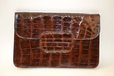 Vintage 50' 60's Brown Crocodile Leather Clutch w/Original Mirror & Coin Purse