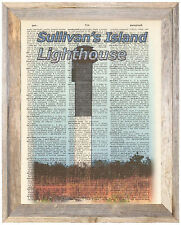 Sullivan's Island Lighthouse SC Altered Art Print Upcycled Vintage Dictionary