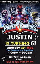 Power Rangers Birthday Party Invites Invitations Personalised ranger powerranger
