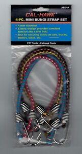 "4 Pack of 10"" Mini Tie Down Cords 4mm Bungee Elastic Fabric Steel Hooks Rope New"