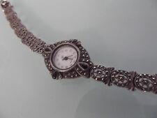 (2291) Damenarmbanduhr Quarz Silber 925 schwarze Steine + Markasite