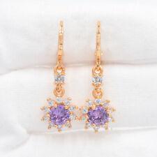18K Gold Filled Purple Mystic Topaz Sunflower Drop Dangle Earrings Jewelry