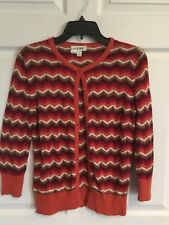 Cherokee women's small sweater multi color chevron design red brown tones