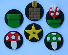 12 edible MARIO GAME theme cake cupcake topper DECORATION super STAR mushroom