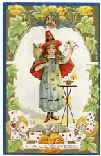 Halloween Child Witch with Cards and White Owl