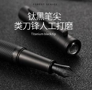 HongDian Black Forest Fountain Pen Titanium EF/F/Bent Nib Ink Pen with Converter