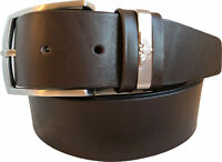 MENS FULL GRAIN  ITALIAN CALF LEATHER BELT DARK BROWN 40MM METAL LOOP EAGLE