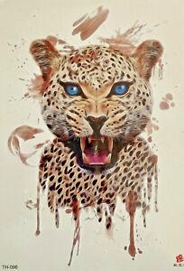 Temporary Tattoo Lion Tiger Leopard Body Art Fake Waterproof