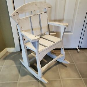 Vintage Childs Rocking Chair Hand Crafted Painted White Wood ART