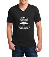 Men's V-neck I'm Into Fitness Shirt Funny T-Shirt Pie Fall Tee Thanksgiving Gift