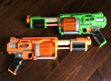 LOT OF 2 Nerf DART TAG Fury Fire Blaster Dart Gun GREEN & ORANGE Revolver