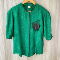 *VINTAGE* Royal Green Swirl Mock Hankerchief SIZE 10 UK Half Sleeve Blouse V1