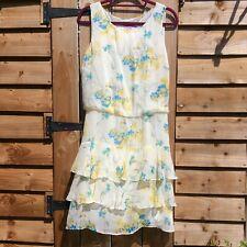 MONSOON Size 12 Cream Yellow Blue Floral SILK Layered Sleeveless Summer Dress