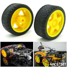 NEW 4pcs Smart Car Model Robot Plastic Yellow Tire Wheel DIY for Arduino 65x26mm