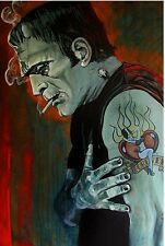 """Lowbrow BROKEN HEARTED 12"""" x 18"""" Print by Mike Bell Tattoo FRANKENSTEIN Monster"""