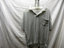 Vintage Plain Grey M Medium Polo Shirt One Pocket