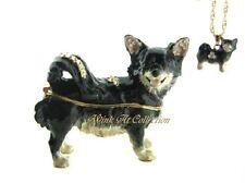 Black Long Hair Chihuahua Dog Bejeweled Trinket Box
