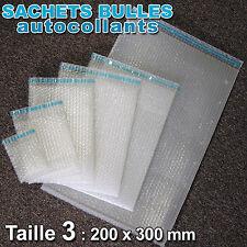 Lot de 50 sachets bulles d'air format 200 x 300 mm avec rabat adhésif
