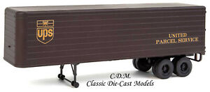 (2) 35' UPS Fluted Side Trailers HO 1/87 Scale Walthers 949-2428