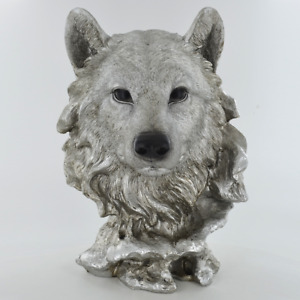 Wolf Head Antique Silver Finish Sculpture / Figurine.New