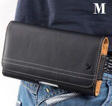 for SAMSUNG Phones - HORIZONTAL BLACK Leather Pouch Card Holder Belt Clip Case