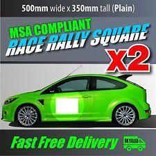 2x Motorsport Door Squares Plain Race Rally Track Car MSA Compliant Number