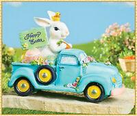 Happy Easter Blue Vintage Truck Bunny Rabbit Eggs Figurine Statue Tabletop Decor