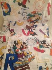 Mickey Mouse Alphabet Fabric Bed Sheet Set Size Double/Full Flat Fitted Donald