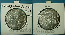 AUSTRIA OSTERREICH 10 EURO 2002 UNC CASTELLO AMBRAS ARGENTO SILVER 925