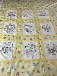 """Stunning Vintage Hand Embroidered Childrens Quilt Topper 45""""X77"""" Prayer Bunnies"""