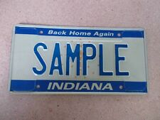 """Undated Indiana """"Back Home Again"""" """"SAMPLE"""" License Plate"""