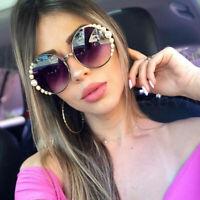 Luxury Pearl Oversized Round Sunglasses Retro Women Outdoor Shades Glasses UV400