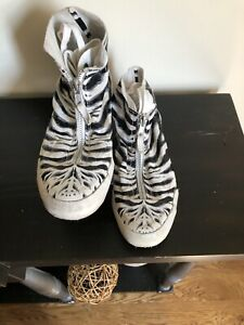 Girls Zebra Print Leather Zip & Lace Up  Converse Chuck Taylor All Star SZ 5