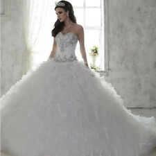 White Quinceanera Dress Ball Gown Ruffled Prom Party Sweet 15 Wedding Dresses