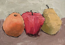 Orange Apple Pear Expression Still Life Fruit Oil Painting Knives 5x7 052919 KEN