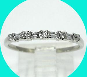 .30CT diamond wedding band ring 14K white gold round baguettes sz 10.5