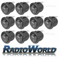 10x 12v 20a ON/OFF Marked Black Round Rocker Switch /Car dash / light / Boat