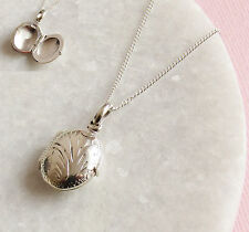 925 Solid Sterling Silver Oval Locket Pendant Necklace With Chain & Gift Box